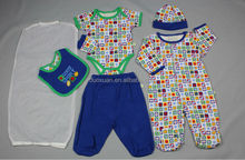 baby boys 7pcs set/creeper/pants/bib/hat/gloves