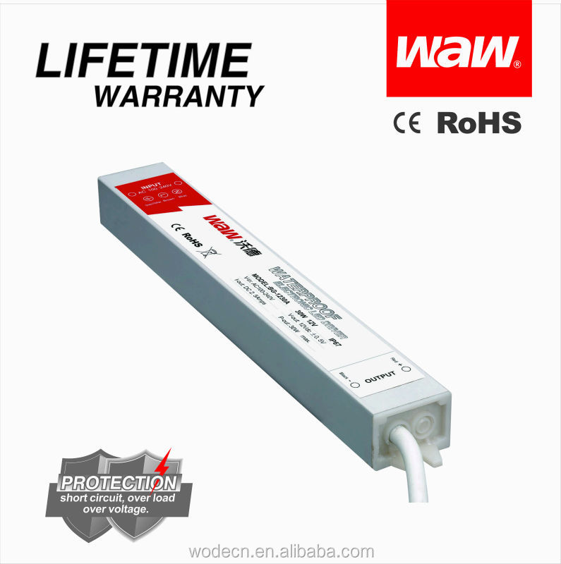 12v 3a 36w ac to dc constant voltage waterproof IP67 LED driver for LED strips and LED display with CE ROHS approved