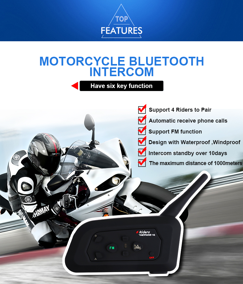 Intercom V4 4 referee/riders communication system football/Motorycle helmet