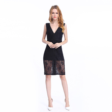 Alibaba Fashion Clothing Manufacturers Women Deep V Neck In Black Midi Dress