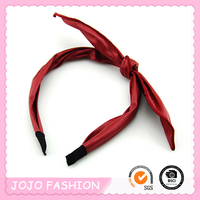 Fashion make kids red PU long bowknot headband/