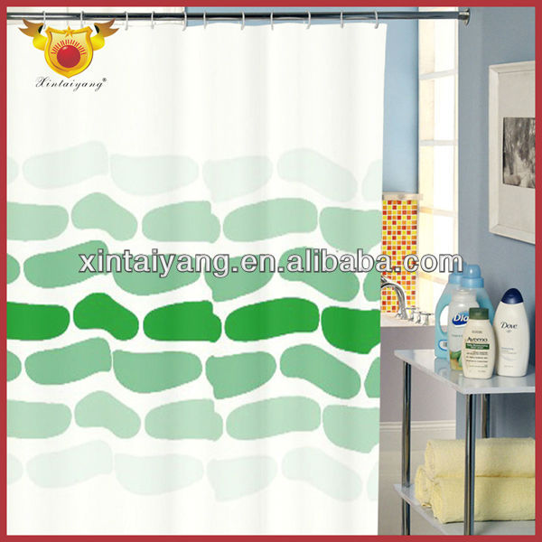 Cyan Foot Print design polyester fabric waterproof fancy Shower curtain with curtain bottom weight