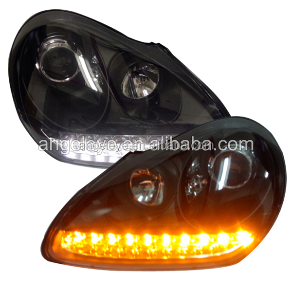 2004 to 2006 year LED Headlight For Porsche Cayenne led Angel eyes head lamp with Bi Xenon projector front light SN