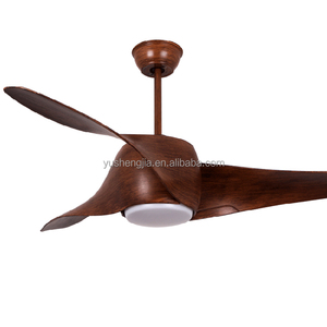 Wood plastic blade modern remote control ceiling fans with led lights