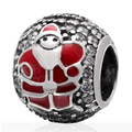 Red Enamel Santa Claus White Zircon Pave Round Big Hole Real Sterling Silver European Charm Beads Christmas Gift SZPB254