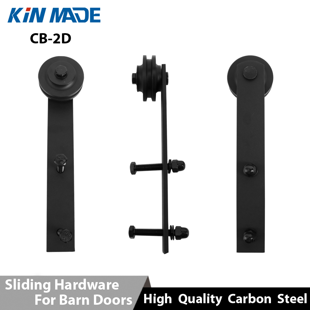 Black Antique Style Strap Roller Steel Barn Door Hardware Wood Sliding Door System