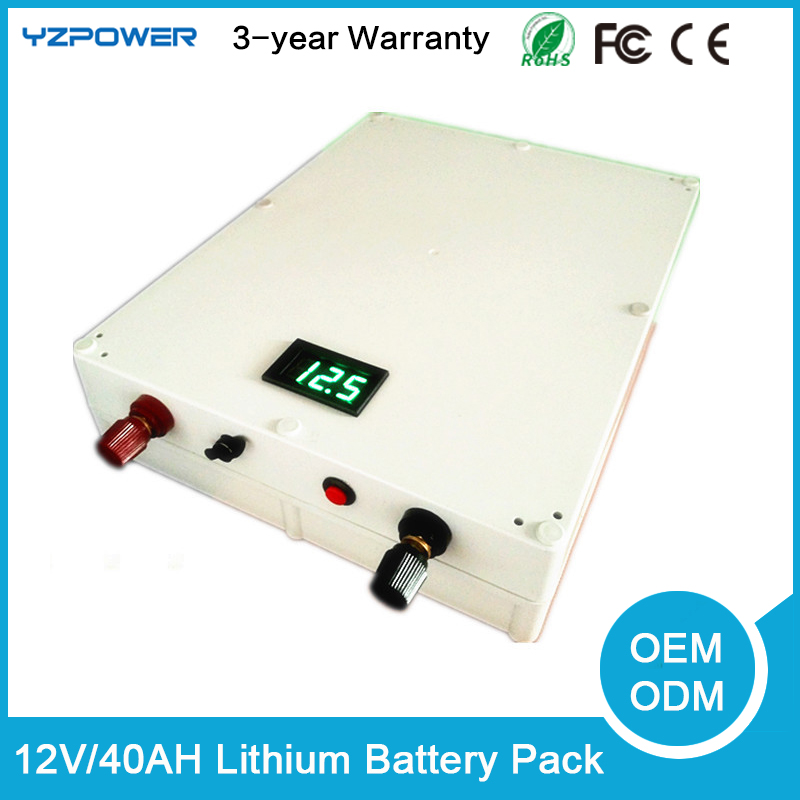 rechargeable DC 12V 40Ah lithium polymer li-ion battery pack