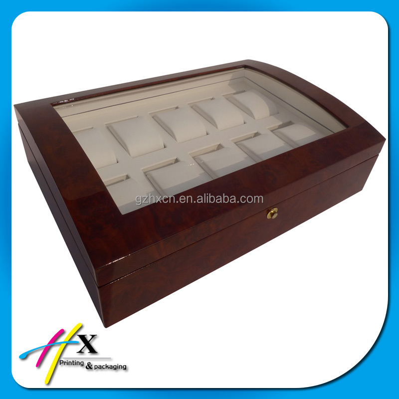Luxury watch box case, vintage style 10 slots watches display wooden box