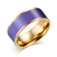 New Designs Stainless Steel Ladies Finger Ring with Purple Enamels Wholesale