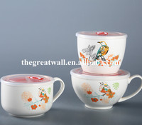 Wholesale ceramic fresh cup, mixing bowl, salad bowl set with plastic lid and handle