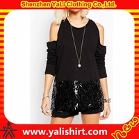 Fashiom cheap plain 100%cotton long sleeve beaded sequin splice off the shoulder t-shirt wholesale