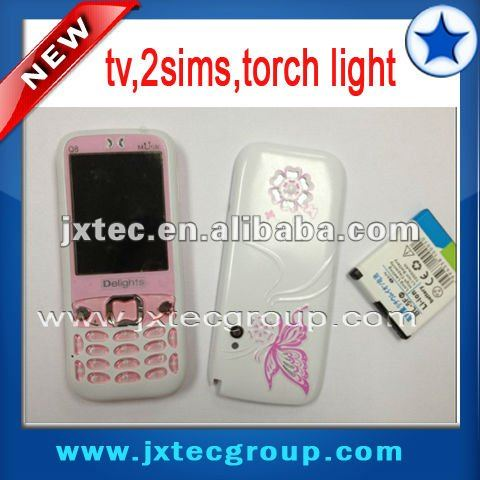 Q8 2sims tv telefonos chinos with torch light