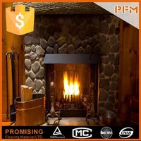 house decorative hand carved pebble gas fireplace