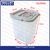 55L Vintage Ballot Box Plastic Square clear storage turnover box with interlock lid