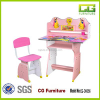Adjustable carton picture kids study table and chairs for school