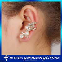 Wholesale glass engagement jewelry ear cuffs with pearl SE00090