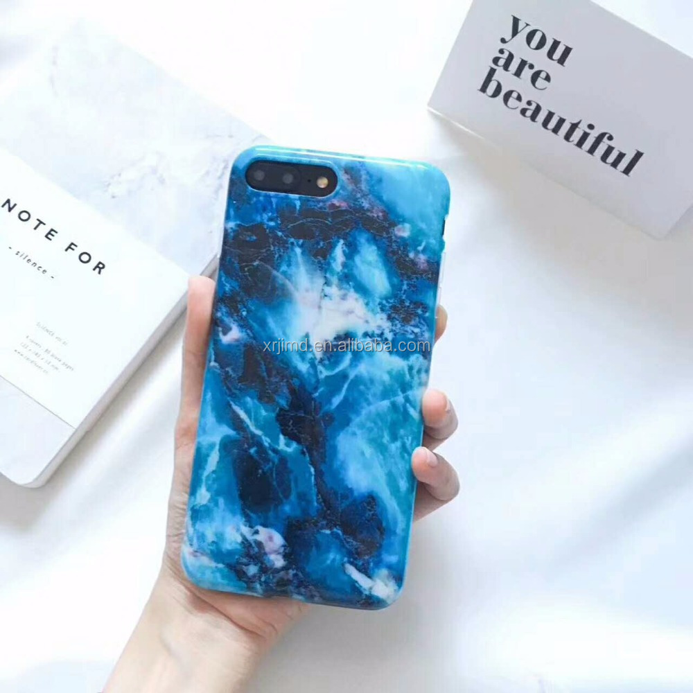 New design deep blue marble,smooth IMD transparent soft case cover for iPhone 6/6 p/7/7p