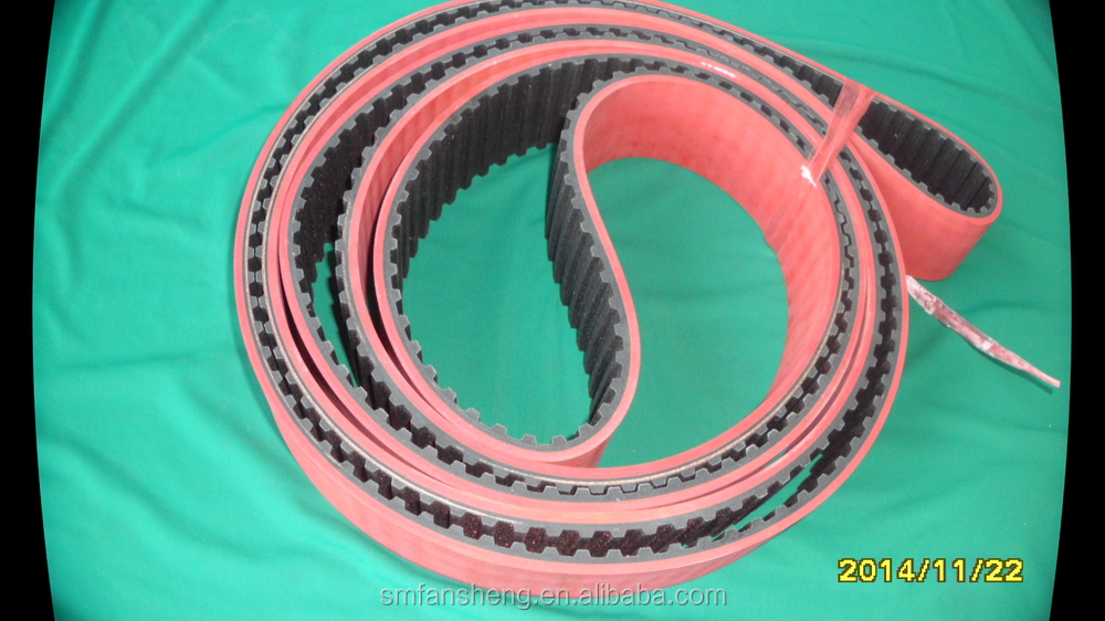 fashion rubber belt, rubber belt+APL, red rubber timing Belt