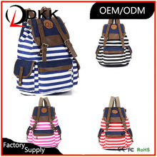 DKK-P007 Good looking leisure style beautiful girls black white striped printed canvas backpack bag