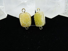 CH-LSB0775 Yellow druzy connector,2014 fashion druzy jewelry,earring charms