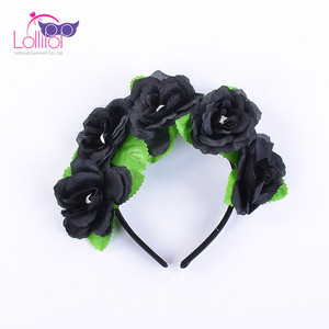 Halloween Party Costume Accessories Black Flowers Children Adult Hair band For Sale