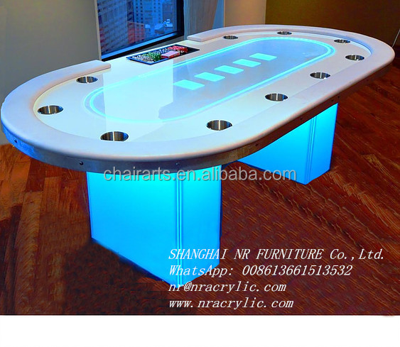 Shanghai LED electric gambling table / round led table led tables pokerchips acryl