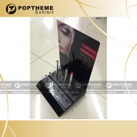 Wholesale custom acrylic pen lipstick cosmetic display,make up comsmetic display showcase black colour from guangzhou