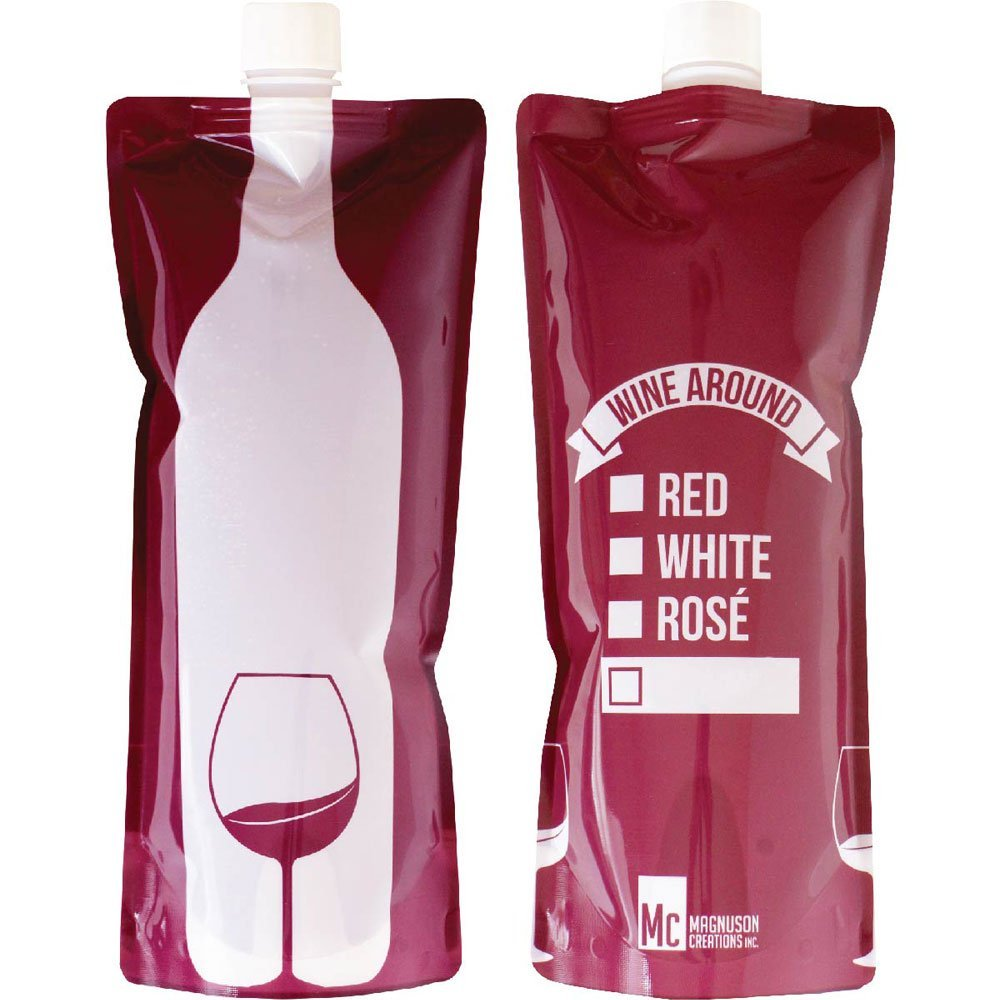 Foldable To Go Wine Bottle Bottle of Wine in a Fun, Convenient Pouch Shatterproof, Flexible and Lightweight Wine Pouch Con