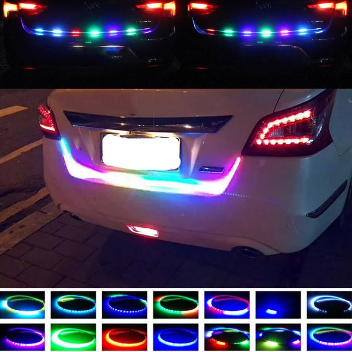 New Arrival Flexible Flowing Drl Car Rear RGB Color led Tail light Trunk Strip Light and Brake Turn signals Flash Warning light