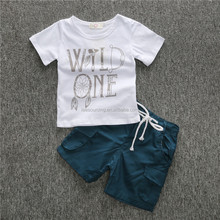 Wholesale baby boy clothing set white t shirt and shorts set 100% cotton children summer clothes 2017