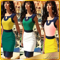 Hot sale Bodycon Pencil Women Patchwork Bandage sleeveless Midi Dress Evening Party Elegant Plus Size Slimming Dress