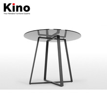 Nordic contracted glass top stainless steel frame small tea table coffee table