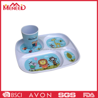 Lovely cartoon print children canteen use food tray with compartments