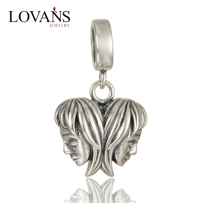 925 Silver Bead Love Mother Image Charms Wholesale Jewelry S289