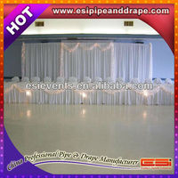 ESI factory price pipe and white fire proof sheer fabric drape for hotel backdrop wedding event