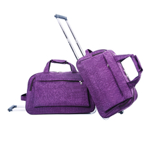 Washer wrinkle fabric trolley duffel bag, washing clothing travel duffel pack, polyester oxford cloth soft wheeled holdall set