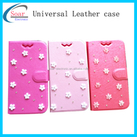 New style flip universal leather case for mobile phone,wholesale smartphone universal leather case