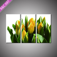 Modern House Warming Flower Decoration Bright Yellow Tulip Painting with Stretcher Bar