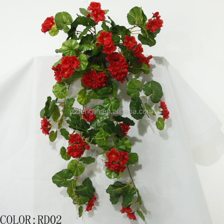 Wall Decor With Artificial Flowers : Wall hanging artificial silk geranium flowers factory