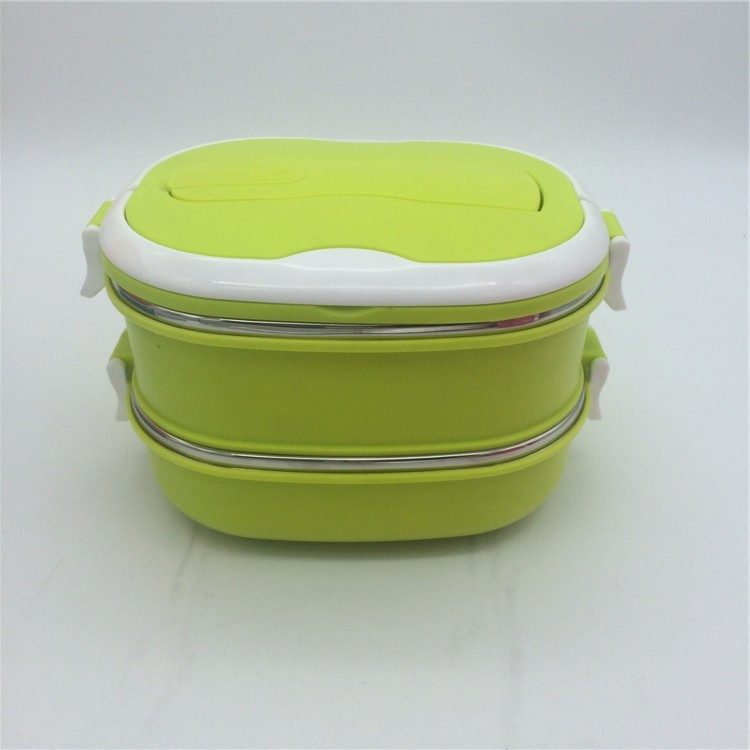 wholesale pp and stainless steel lunch box 2 layers Stainless steel thermal insulated lunch boxes food container