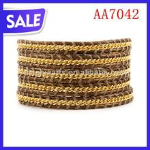 GOLDEN Chain and Shadow brown Cotton Cord Wrap Bracelet Hand Chain for Men