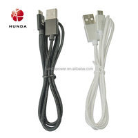 Black White Micro Nylon Braided Durable Data Transfer Charging Micro USB Cable for Android Mobile Phone