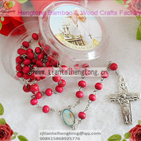 7mm Pink Wooden Bead Rosary Rose