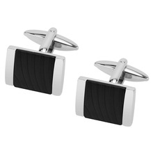 Latest initial branded black stripe square cufflinks