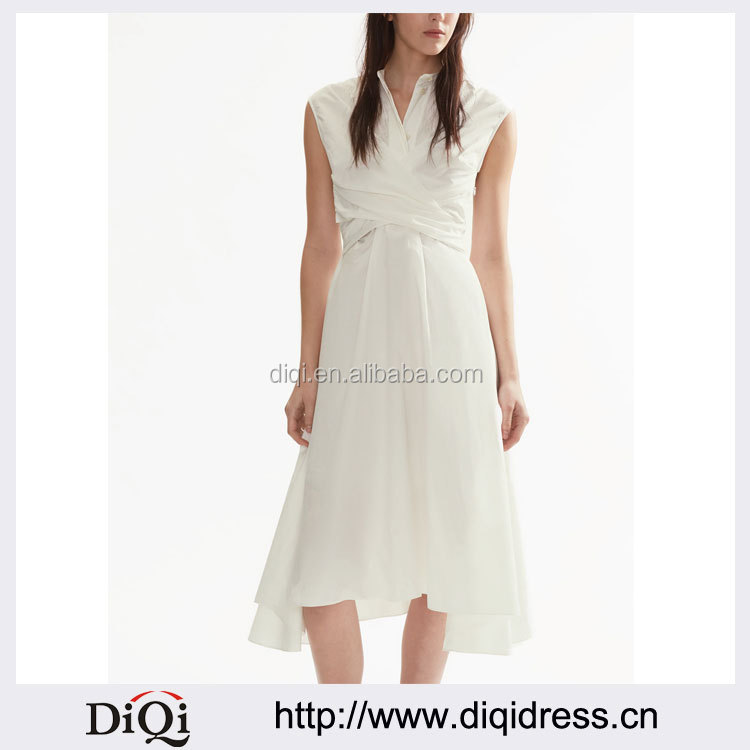 Customized Lady Apparel Off White Cotton Sleeveless Twisted-Front Dress(DQM042D)