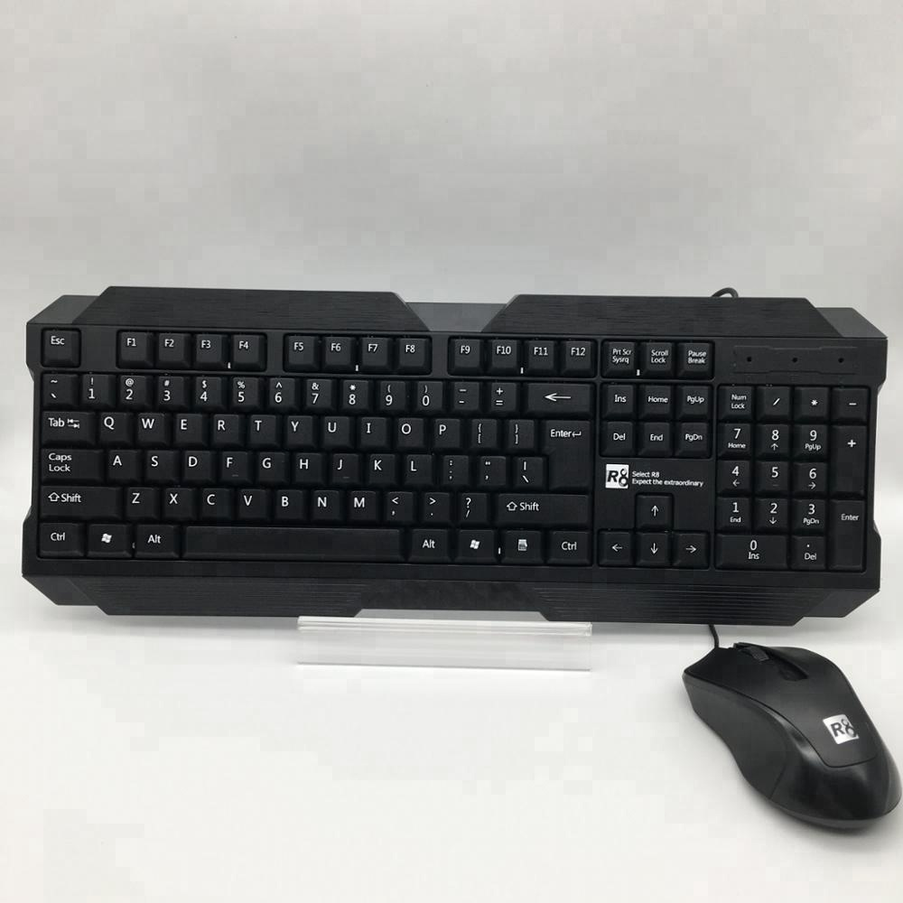 R8 Cheap Keyboard and Mouse Combo office Keyboard and Gmaing Mouse Set for PC