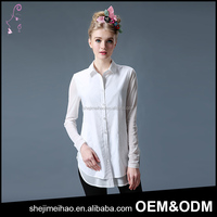 Casual Style Long Sleeve Cotton Shirt White Color Embroidery Blouse Ladies