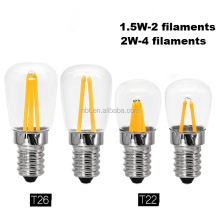 T22 T26 Refrigerator 220V Filament 1.5w 2w E14 filament led light Bulb for Oven and Fridge