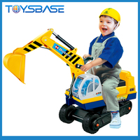 Excavator Digger Scooter Pulling Cart Kids Ride on Car with Pretend Play Construction Truck Toy