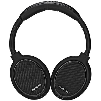 AUSDOM M05 Carbon Fibre Apt-X High Fidelity CD-Like Sound Powerful Bass Multiple Languages Wireless Headphones With Microphone